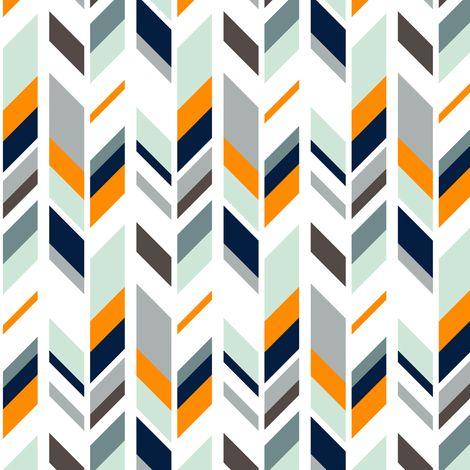 Feather // navy/orange/grey/mint fabric by littlearrowdesign on Spoonflower - custom fabric