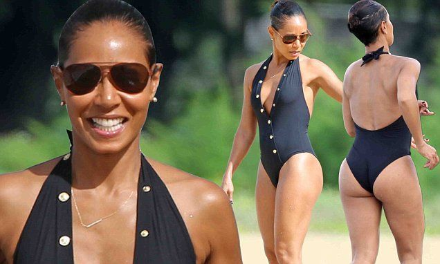 Jada Pinkett Smith, 44, wears a black swimsuit during family holiday in Hawaii | Daily Mail Online