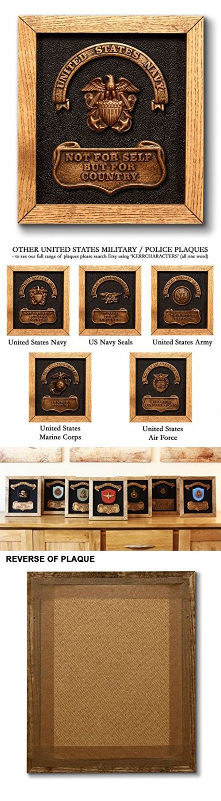 US NAVY Plaque - includes official United States Navy badge and motto. Magnificent handmade military present or gift - Birthday / Fathers Day / Christmas etc