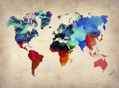 Mapa do mundo Aquarela