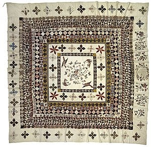 The Rajah Quilt, made on board the Rajah, a convict ship that transported 180 women to Van Diemen's Land in 1841.  My ggg-grandmother Grace Stephens was one of the convict women on board.
