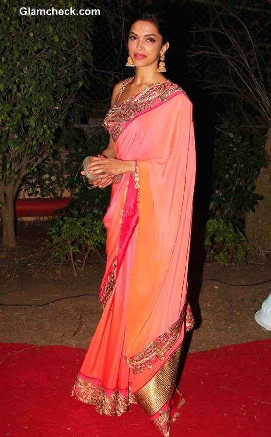 Deepika Padukone in Sari at Ahana Deol and Vaibhav Vora Marriage