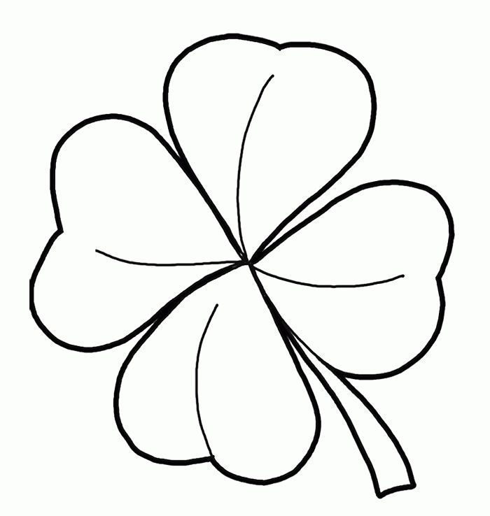 Easy Four Leaf Clover Coloring Pages 1 Leaf Coloring Page Four