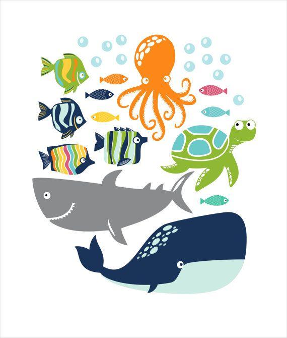 Fish Whale Ocotpus Turtle Children's Wall Decals por FieldandFlower