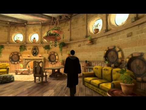 Playstation Home: Pottermore Hufflepuff Common Room - YouTube | Watched it muted, no idea whether or not they say anything.
