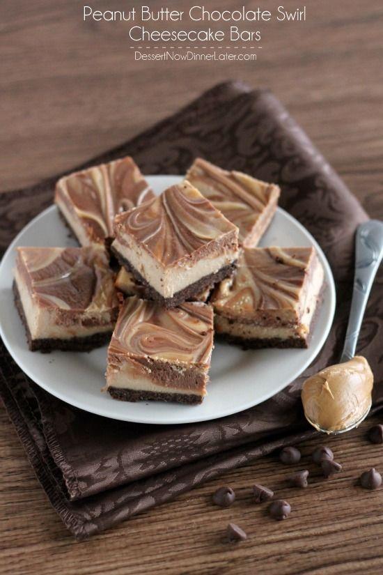 Peanut Butter Chocolate Swirl Cheesecake Bars | DessertNowDinnerLater.com #peanutbutter #chocolate #cheesecake #bars #dessert