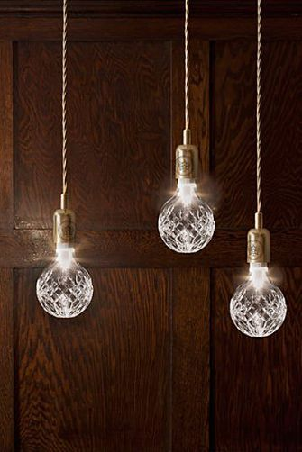 Crystal bulb pendant light, made in collaboration with last remaining makers of full lead crystal in the UK.