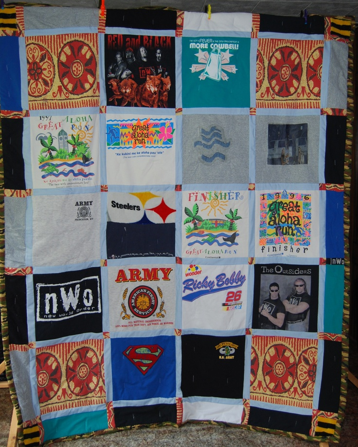 Tee Shirt Quilt Made From Screen Printed Tee Shirts