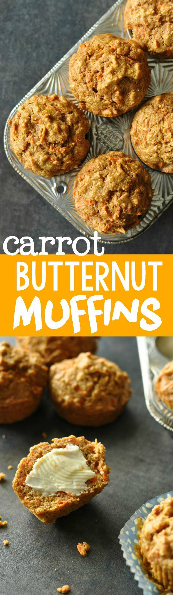 Carrot Butternut Whole Grain Muffins :: kid scarfed and approved! My toddler LOVES these healthy muffins!
