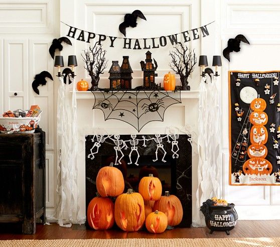 halloween mantel inspiratin from pottery barn kids i like stacking pumpkins inside fireplace - Halloween Mantle