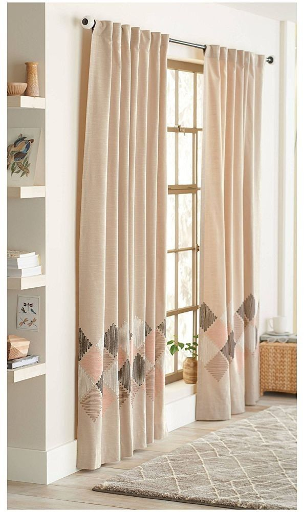 Threshold One Window Curtain Panel Blush Zigzag Embroidered Light