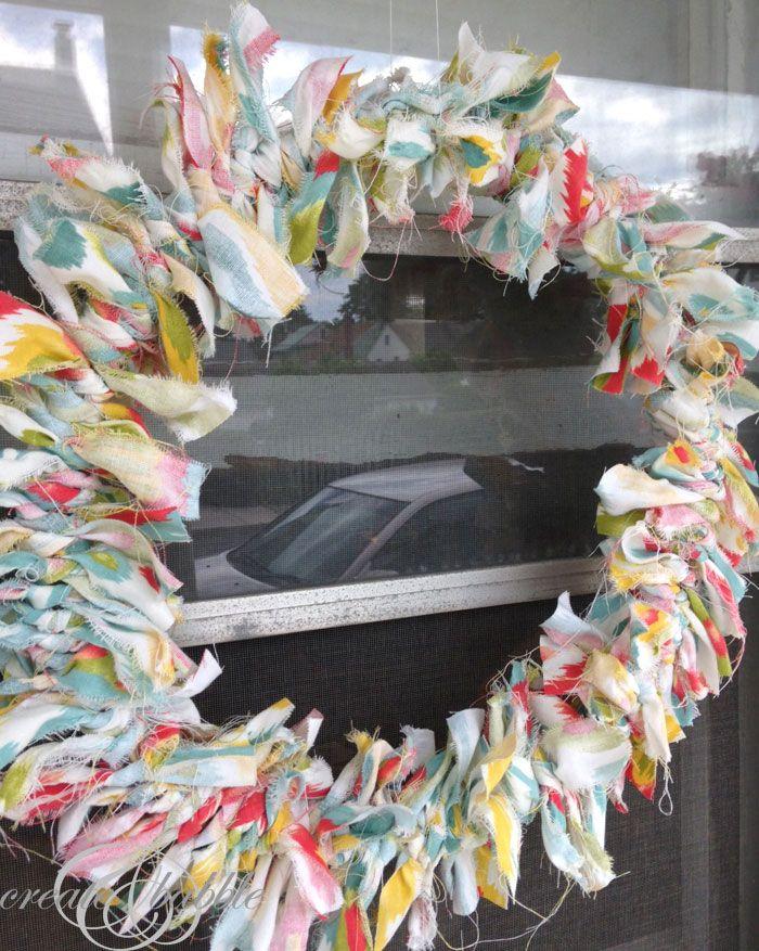 Dollar Store Fabric Scrap Wreath {createandbabble}