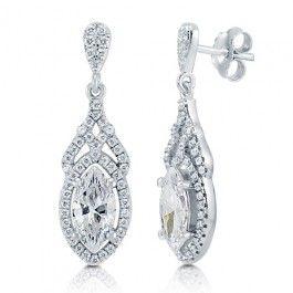 Marquise Cut Cubic Zirconia CZ Sterling Silver Halo Dangle Earrings $55.99