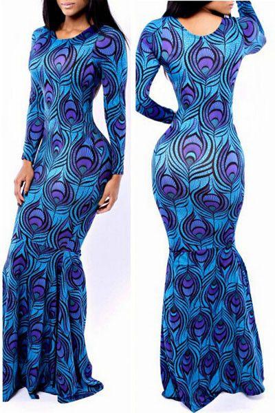 10012 Mermaid Peacock Feather Print Maxi Dress