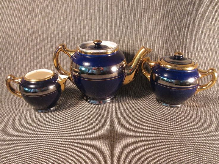 Antique Early1900's Guernsey Cooking Ware 5 Piece Cobalt Blue Tea Set England #guernseycookware
