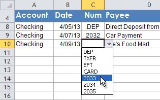 Dynamic Drop-Down List for Check Number