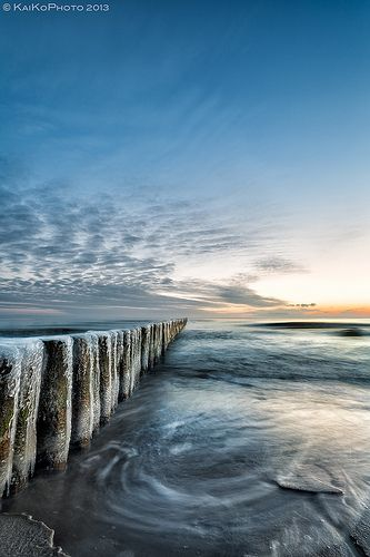 winter morning, Koserow, Germany - a resort town on an isthmus on the Baltic Sea island of Usedom near the border with Poland