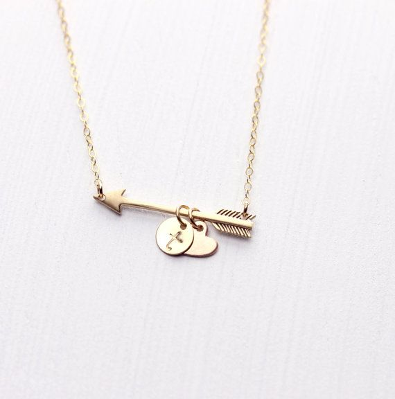 Golden Arrow Personalized Necklace/ Monogram Initial Necklace/ Hand Stamped Mom Necklace/Cupid's Arrow