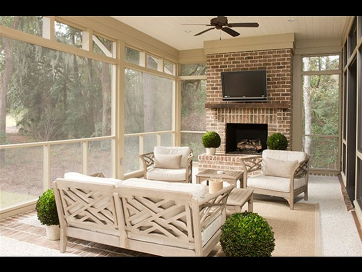 Sunroom with fireplace Palmetto Bluff, Bluffton, SC. #RealEstate #InteriorDesign #DiscoverTheBluff