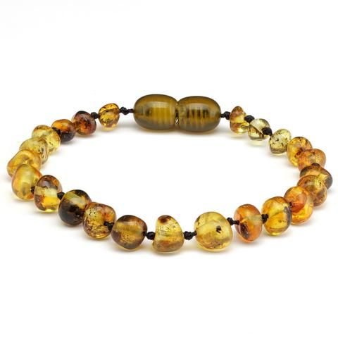 10 Pieces Amber Teething Bracelet Polished Baroque Yellow Green 14cm