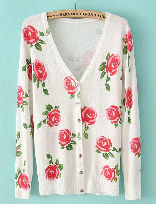 White V Neck Long Sleeve Floral Knit Cardigan