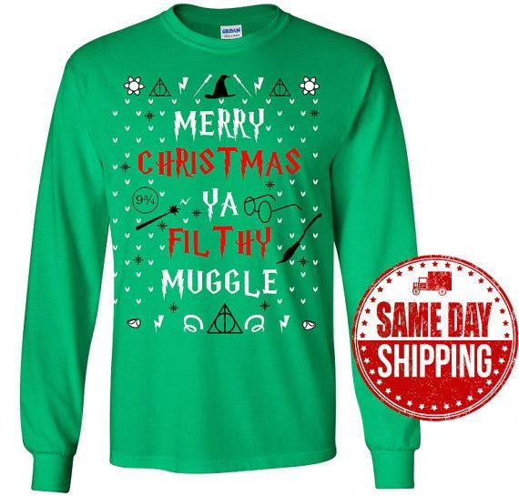 Harry Potter Shirt - Merry Christmas Ya Filfthy Muggle Ugly Christmas Sweater T-Shirt - Harry Potter Christmas Gift - Harry Potter Clothing