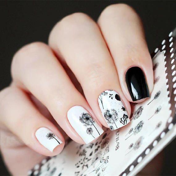2 pattern sheet dandelion flying nail art water decals transfer sticker clear nail polishclear