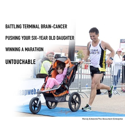 Iram Leon not only stepped up to terminal brain cancer and completed a marathon, he won the Gusher Marathon in Texas while pushing his six-year old daughter.