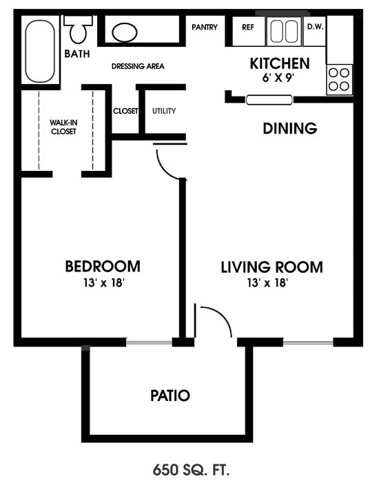 one bedroom floor plans | Clearview Apartments, Mobile, Alabama, one-bedroom floor plan