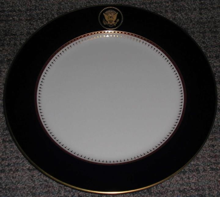 Plate from the Fitz and Floyd White House Service.  The service was a gift to President and Mrs. Reagan.  It is still used in service at the White House and especially on Air Force One.  (private collection of Will Kolb)