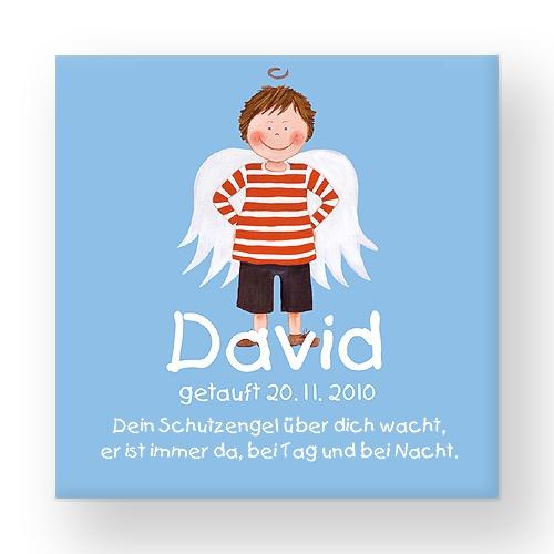 LEVAR DESIGN - Schutzengel *Taufgeschenk* Junge  Zauberhaftes Schutzengel-Namensbild zur Geburt & Taufe.  acrylpainting by levar design
