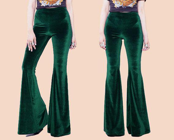 Size Small Womens Vintage 1970s purple velvet bellbottoms bell bottom 70s costume hippie palazzo pants