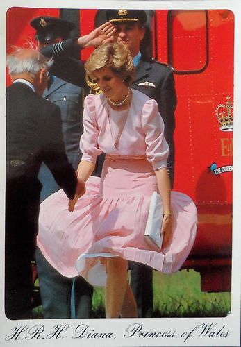 Princess Diana. Don't think this hem was weighted down too well. The Princess has her own 'Marilyn' moment...
