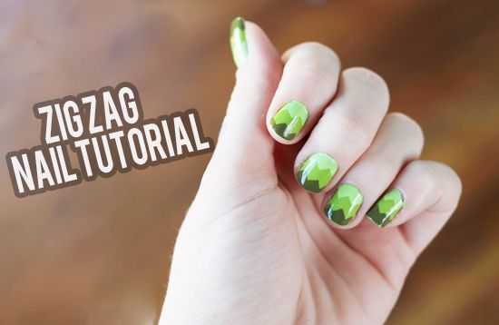 Easy zigzag nails. This definitely looks way more difficult than it actually is. Very cute!