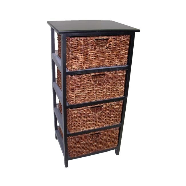 Images Photos Add a stylish touch to your decor with this four basket wicker storage shelf The baskets are constructed of maize fiber with a black cherry wood frame