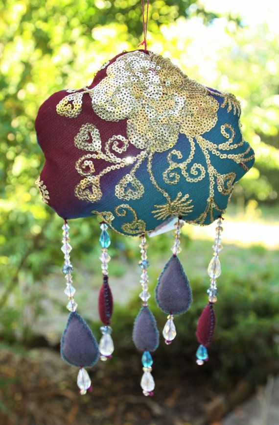Handmade VINTAGE SARI and crystal mobile. Pure by EmsBrightButtons