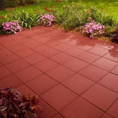 Anchor 12 In X 12 In Red Square Concrete Patio Stone 608841red The Home Depot Patio Stones