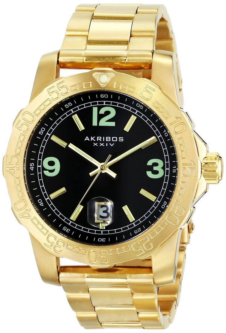 Gold Watches For Men : Akribos Xxiv Men's Ak696yg Essential Black Dial  Goldtone Stainless