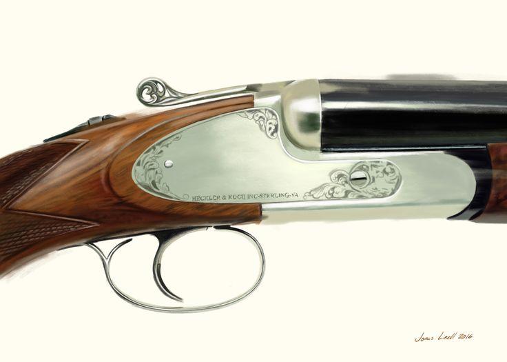 Heckler & Koch shotgun. Painted by Jonas Linell 206. #guns #shotgun #heckler #& #koch #weapon #hunting #hunt #art #illustration #painting #digital