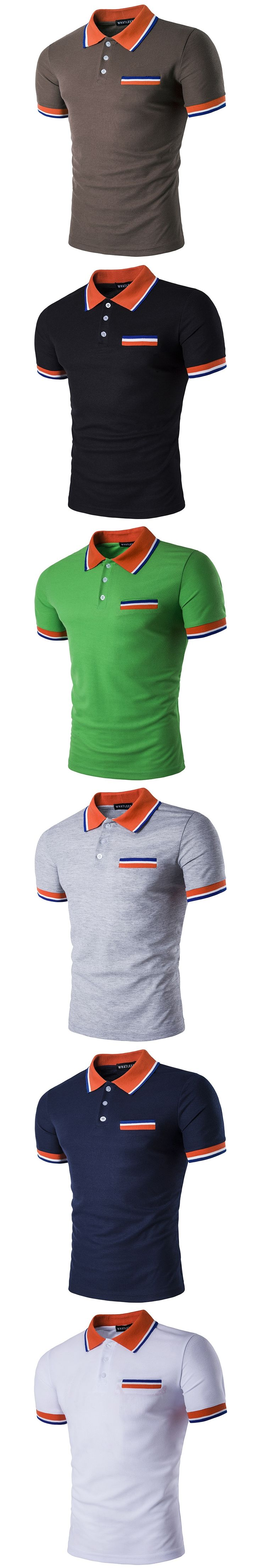 2017 Summer Brand Men Polo Shirt with Chest Pocket Business Casual Stripe Turn Down Collar Male Solid Polo Shirts Plus Size
