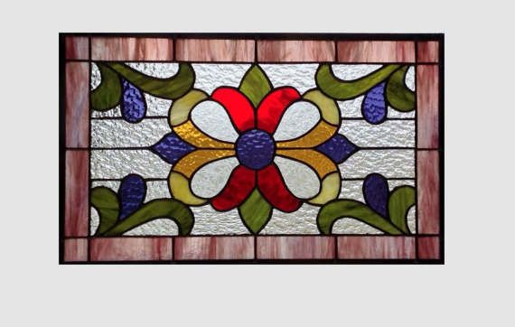 Victorian Stained glass panel window hanging purple red by SGHovel
