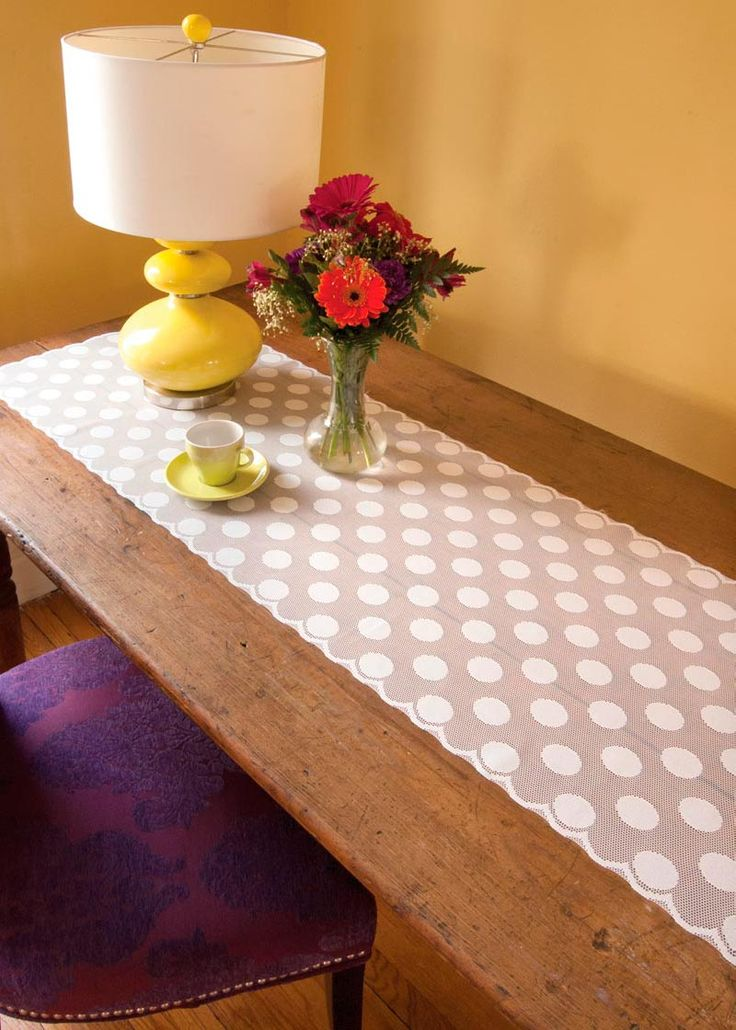 White Lace Polka Dot Runner By Heritage Lace. Unique Table Decor To Freshen  Up Any Space!