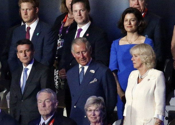 Chairman of the London 2012 Organizing Committee Sebastian Coe, Britain's Prince Charles and Camilla Parker Bowles attend the opening ceremony of the London 2012 Olympic Games on July 27, 2012 at the Olympic stadium in London.