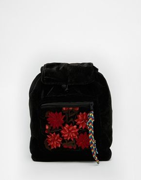 Hiptipico Foo Foo Velvet Backpack With Floral Pocket
