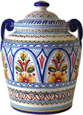 Handpainted Multicolored Ceramic Cookie Jar
