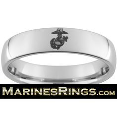 USMC Tungsten Wedding Rings with FREE outside engraving of Marine Corps rank and FREE inside engraving! MarinesRings.com