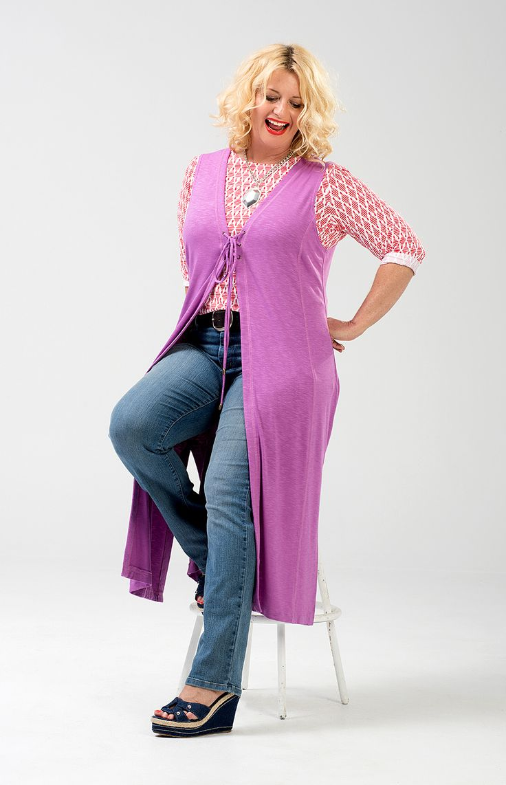 """Charlie a Go-Go's foxy """"Rhoda"""" long vest in Orchid.  Available in plus sizes 12-18. Made in USA http://www.amazon.com/dp/B00UGOLTF0/ref=cm_sw_r_pi_dp_ZTqCvb1S0HQY0"""