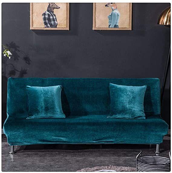 Guocu Housse De Canape Elastique Canape Sans Poignee Housse Salon Couverture De Velours Elegant Bleu Saphir 2 Place 160 190cm Am
