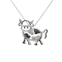 @Overstock - Surprise the bovine collector in your life with this sterling-silver cow necklace. Featuring 15 sparkling black-and-white diamonds, this pendant hangs on an 18-inch sterling-silver chain. The spring-ring clasp will keep it securely fastened.http://www.overstock.com/Jewelry-Watches/Sterling-Silver-1-4ct-TDW-Black-and-White-Diamond-Cow-Necklace/6291906/product.html?CID=214117 $47.49