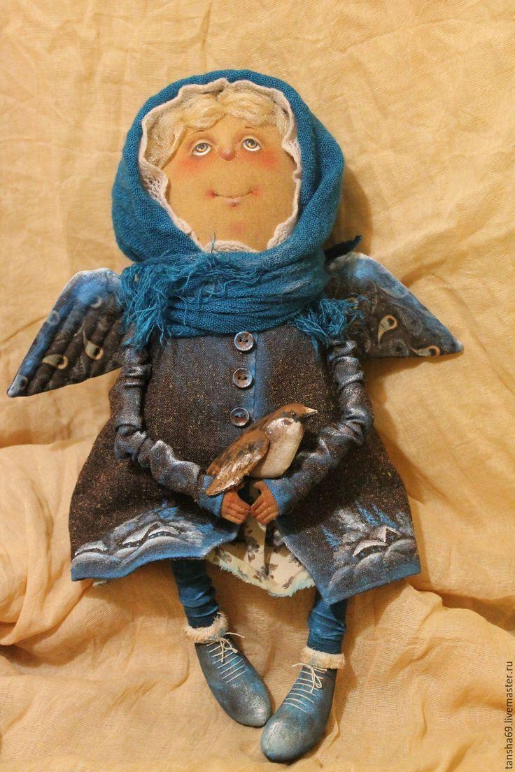 Купить Пташка - комбинированный, текстильная кукла, ароматизированная кукла, интерьерная кукла, ангел, ткань, синтепух